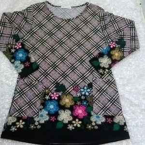 Chris & Carol Floral Print & Plaid Tunic Top